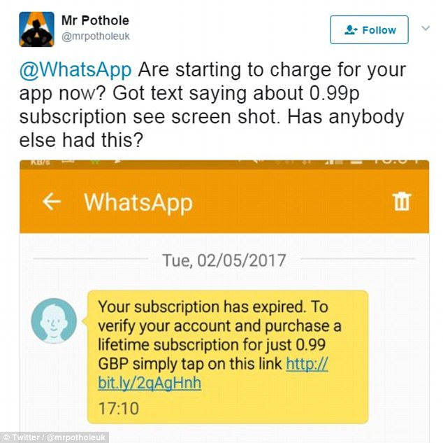 Whatsapp scam texts trick victims into paying a fee   Daily Mail Online
