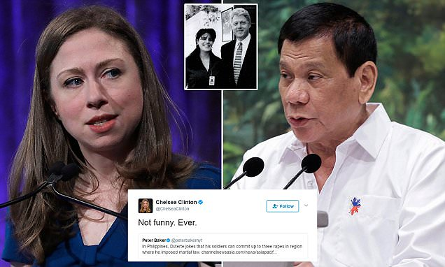 Philippines president Duterte hits back at Chelsea Clinton
