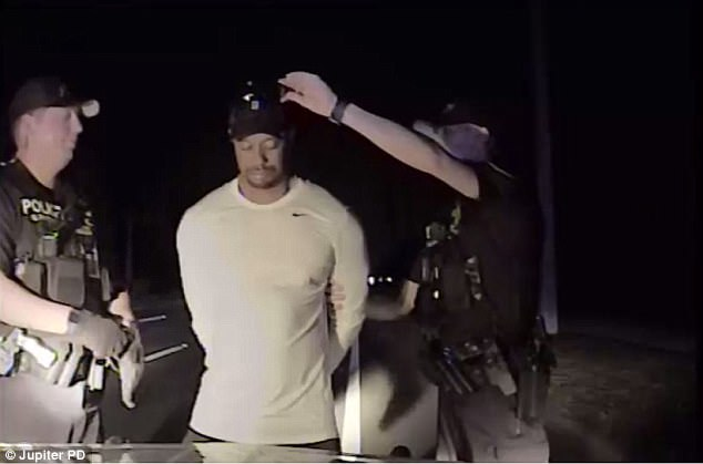 Jupiter police took off Tiger's baseball cap as they administered field sobriety tests