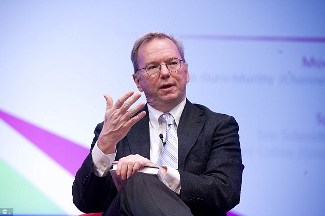 Trump supporters will face the president's critic Eric Schmidt (pictured), executive director of Google's parent company, who warned in January that Trump's administration will do 'evil things'