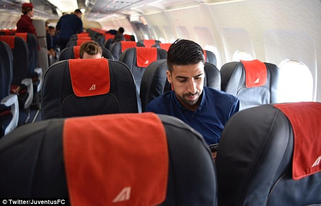 After checking in, Khedira and his team-mates boarded the plane taking them to Cardiff