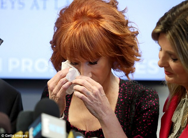 Tough day: Kathy Griffin broke down in tears speaking about the constant attacks from the public and members of the Trump family over the past few days