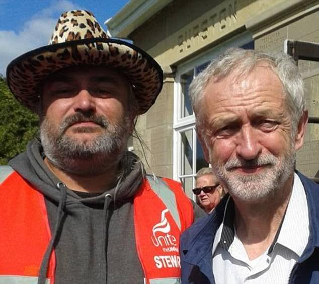 A post on Facebook made by trade unionist Andrew Osborne, pictured above left with Labour leader Jeremy Corbyn, hosted some of the shocking comments made by anarchists