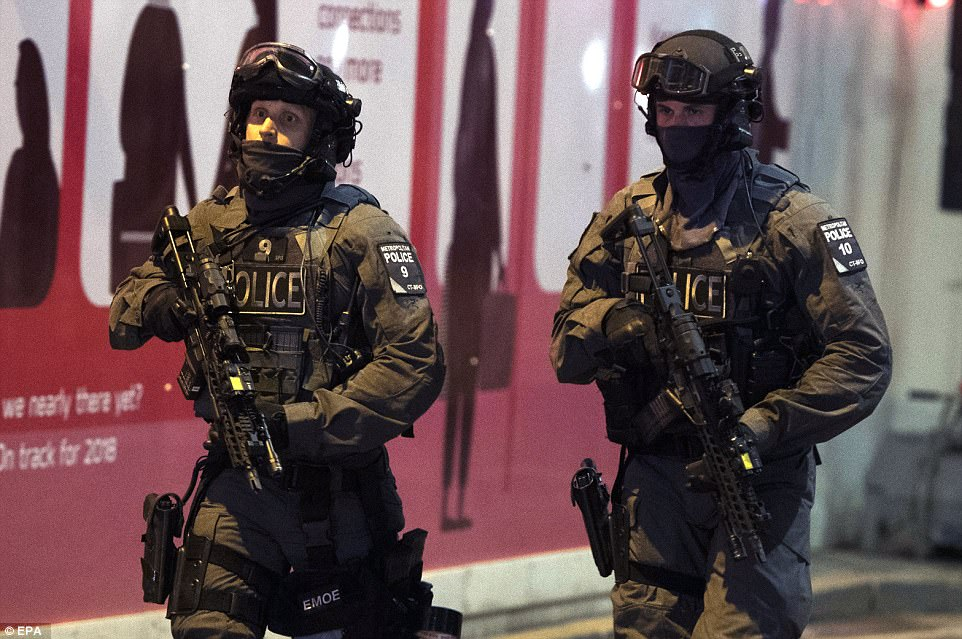 Within minutes of the first emergency call, armed police were on the scene, pictured, and remain at London Bridge today
