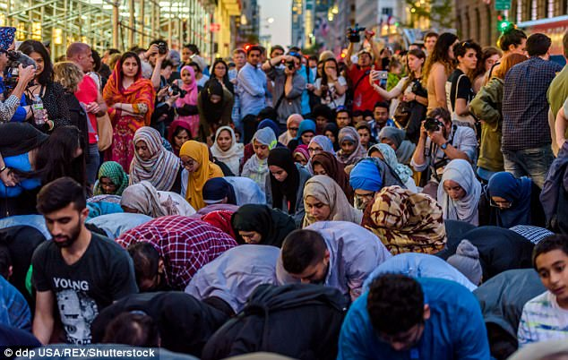 Image result for muslims pray trump tower