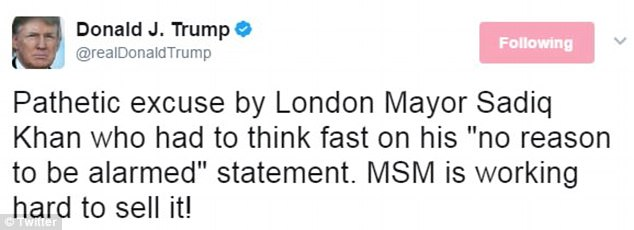 The president doubled down Monday on his feud with Sadiq Khan, despite taking him out of context on Sunday