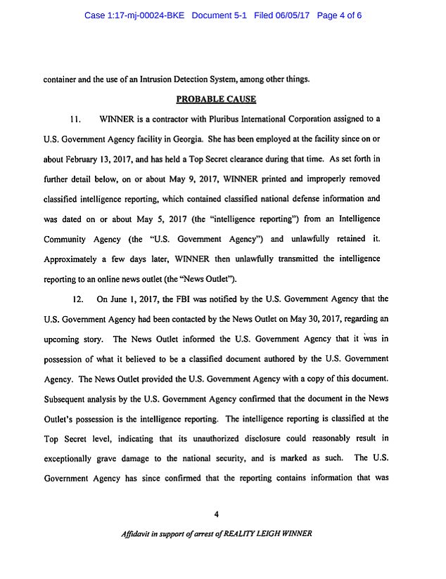 The affidavit mentions a 'U.S. Government Agency' believed to be the NSA