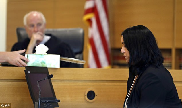 Lynn Roy, the mother of Conrad Roy III, is offered tissues during her testimony before Judge Lawrence Moniz on Tuesday
