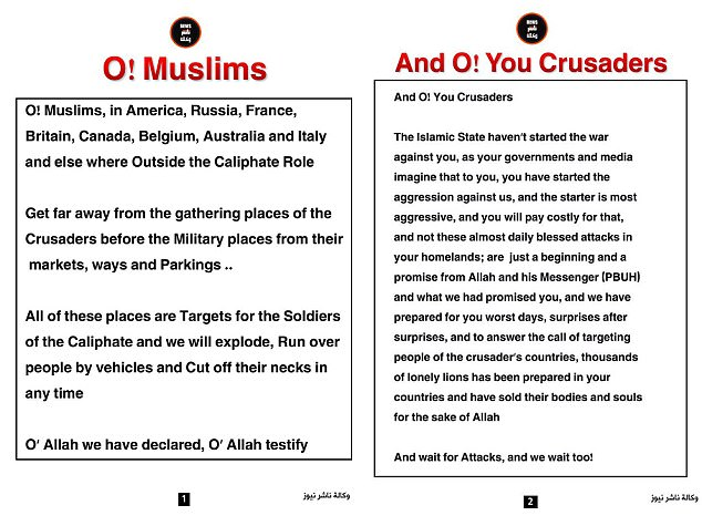 The warning from the news agency, which is split into two sections - 'O! Muslims!' set alongside 'And O! You Crusaders!'. Pictured above, the message in full