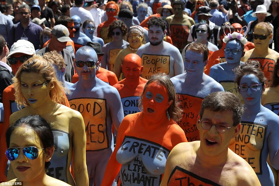 After everyone was painted, the models walked over to the red bleachers in Times Square for an hour-long photo session