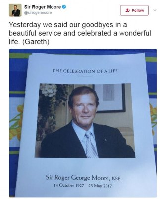 Family and friends came together for a memorial service in Monte Carlo for Sir Roger Moore, pictured, following his death from cancer last month