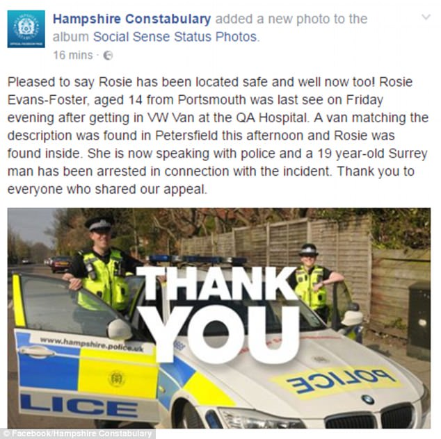 A spokesman for Hampshire Police said: 'Pleased to say Rosie has been located safe and well!'