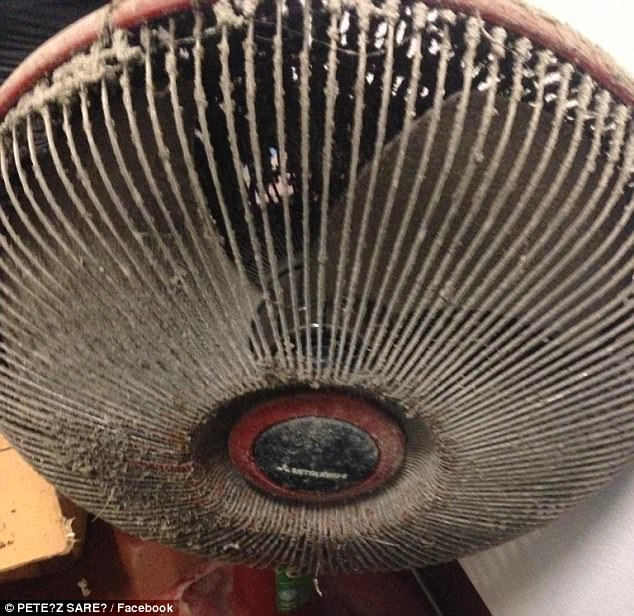 An electric fan was found in the woman's home covered by a thick layer of dust
