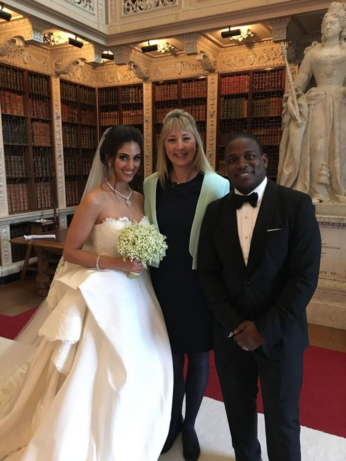 Elaine Coles was the celebrant who performed the ceremony. Elaine, of UK Ceremonies, told MailOnline: 'It was a pleasure to hand write a bespoke and personalised ceremony for the couple'