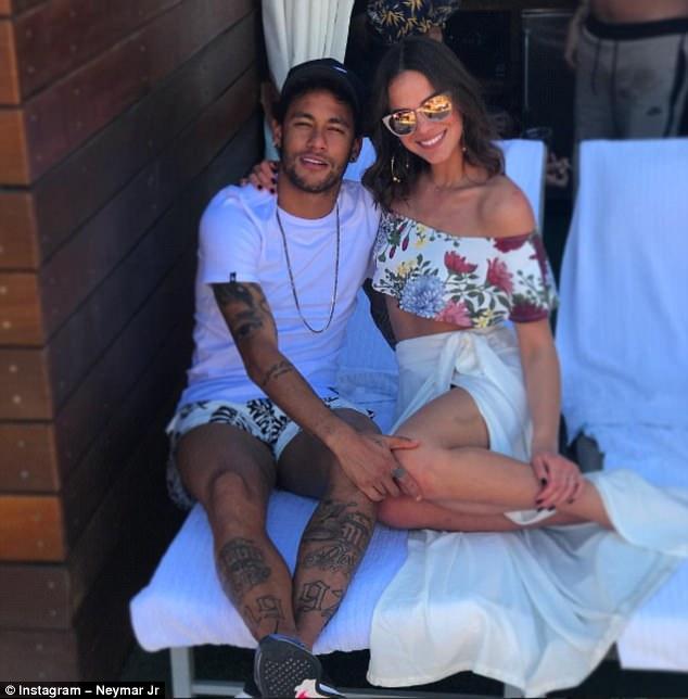 Barcelona striker Neymar is enjoying a break with his actress partnerBruna Marquezine