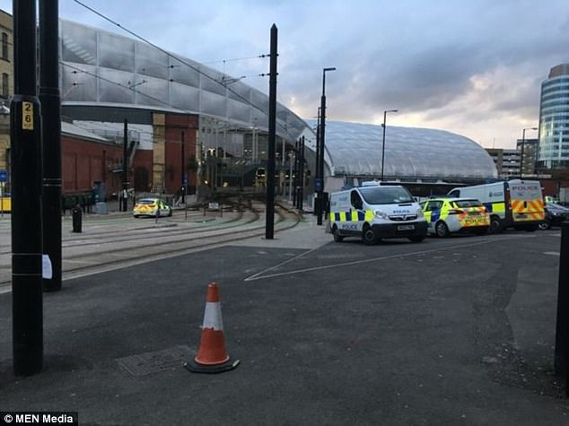 Officers were called to Manchester Victoria station (pictured) after a man was struck by a tram