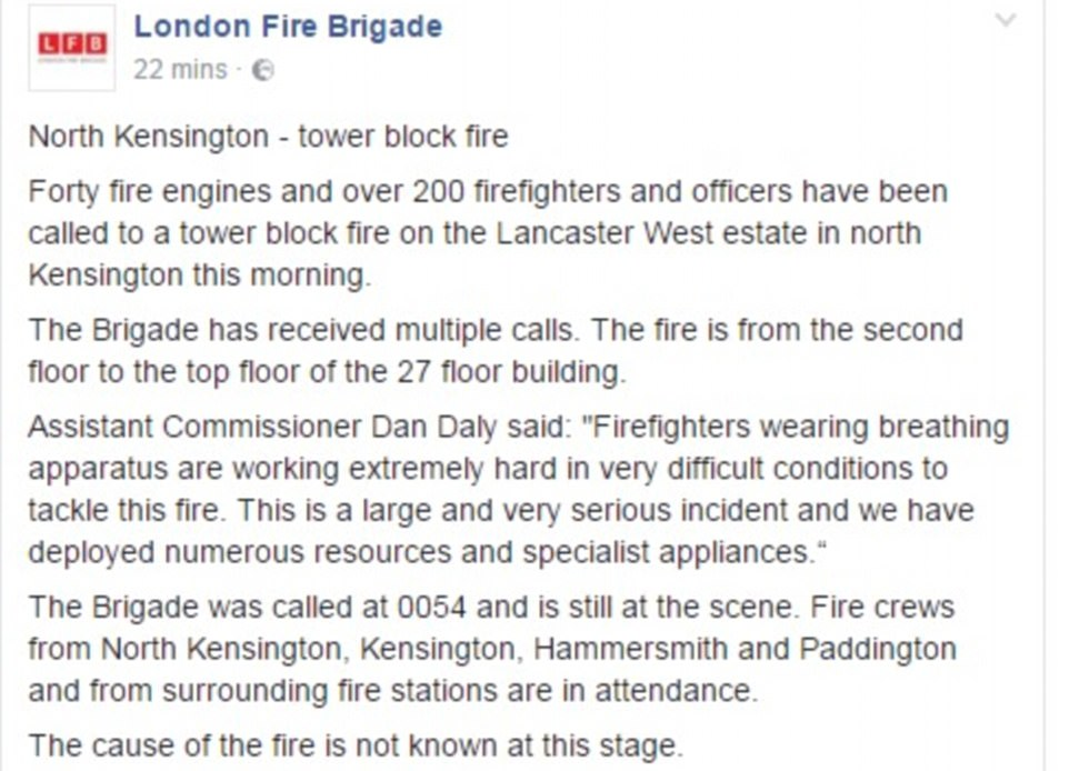 Fire crews from North Kensington, Kensington, Hammersmith and Paddington and from surrounding fire stations are in attendance. The cause of the fire is not known at this stage, the London Fire Brigade said in a statement