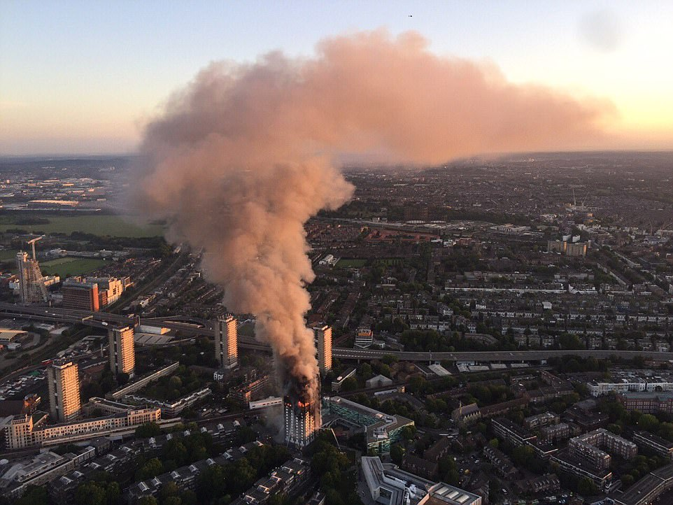 Several people have been confirmed dead after a huge inferno broke out at a residential tower block in West London (shown)