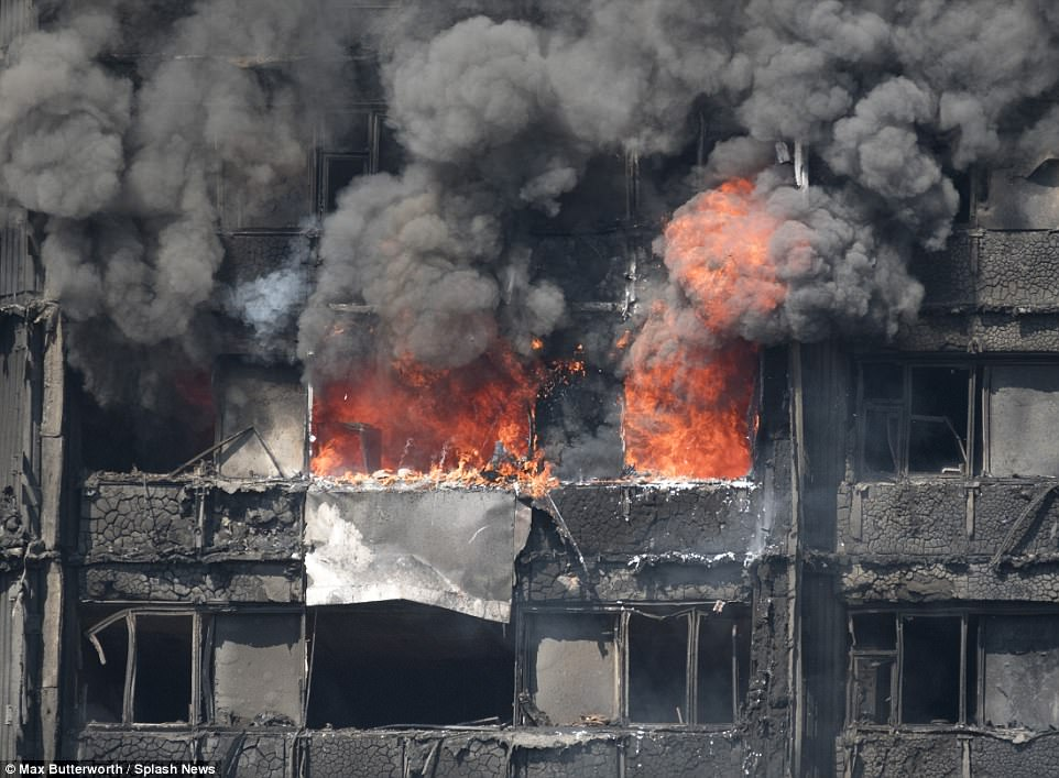 Firefighters continue to battle large scale blaze in London tower block more than 14 hours after it broke out on the fourth floor