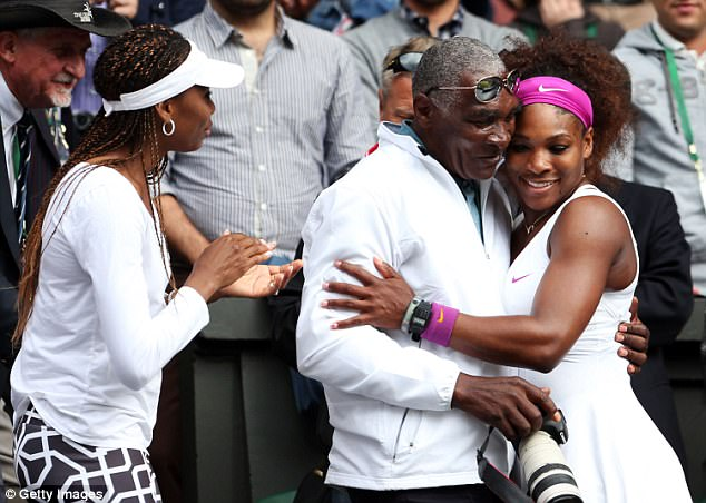 Williams is credited for training his daughters Selena (right) and Venus when they were children. The family celebrates Serena's Wimbledon singles championship in 2012