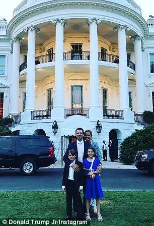 Earlier in the evening Trump and his kids and grandkids had enjoyed a family gathering. Here Donald Trump Jr poses with his family