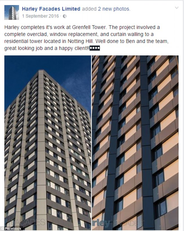 Harley Facades congratulated themselves on the work they had done at Grenfell on their Facebook page