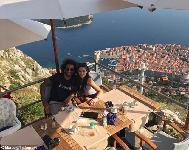 Real Madrid left back Marcelo and Clarice Alves are on holiday in Dubrovnik, Croatia