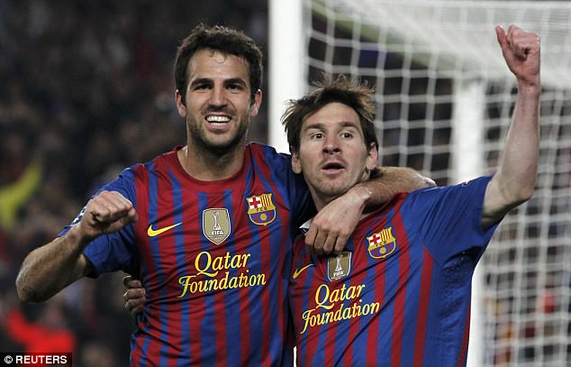 Fabregas and Messi were Barcelona team-mates for three seasons between 2011 and 2014