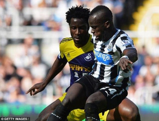 Bony and Tiote compete while playing for former clubs Swansea and Newcastle respectively