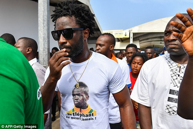 Bony wore a t-shirt paying tribute to the late midfielder as he attended the sombre occasion