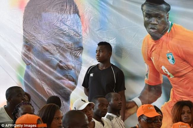 A mural featuring images of Tiote playing for the Ivory Coast was displayed at the airport