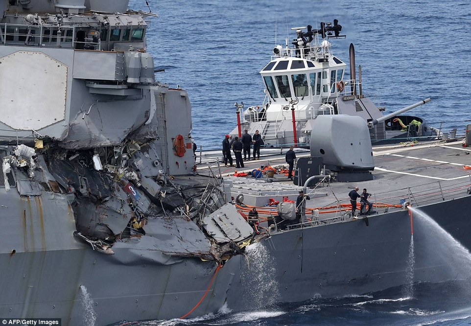 The guided missile destroyer USS Fitzgerald suffered severe damage when the container ship plowed into it at 2.30am local time