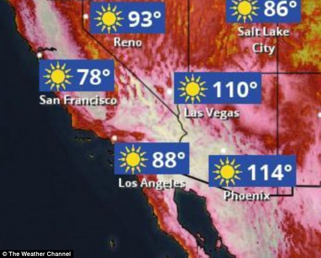 Officials warned of excessive heat across southern portions of Arizona and Nevada, and throughout the 450-mile length of California's Central Valley