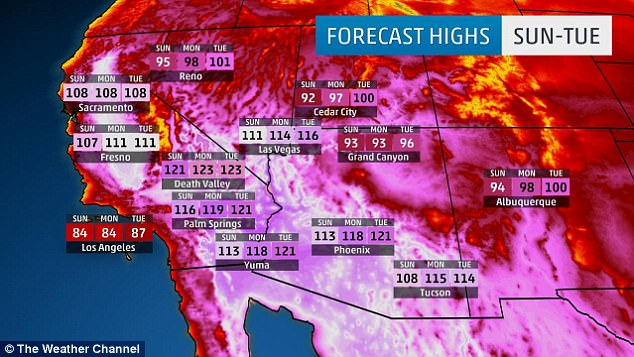 Officials warned of excessive heat across southern portions of Arizona and Nevada, and throughout the 450-mile length of California's Central Valley. Pictured is Monday's forecast. Sunday's forecast is pictured, when the heat wave kicks off