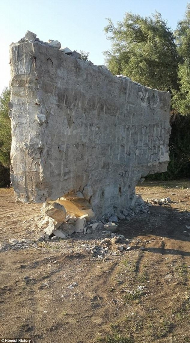 This is how the monument once bearingAtatürk words look like destroyed with no words