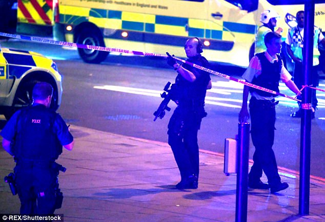 A heavy presence of armed police officers swooped to the scene shortly after the drama unfolded