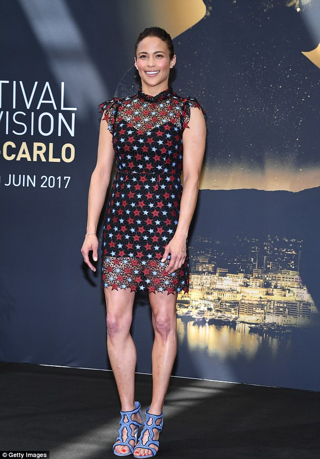 On top: Paula Patton proved she is just as fetching as ever as she flashed her toned legs at the 57th Monte Carlo TV Festival on Monday
