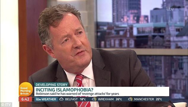 La pareja se enfrentaron en Buenos días a Gran Bretaña como Piers Morgan dijo Robinson, 'Suenas como un loco completo'