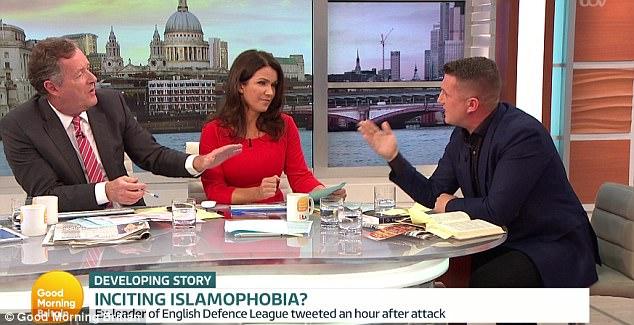 El ex líder de la Liga de Defensa Inglés Tommy Robinson fue golpeada por Piers Morgan y Susanna Reid en buena mañana Bretaña