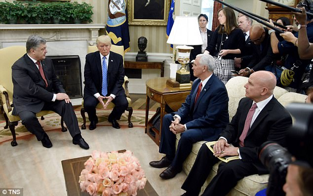 It was a busy day for the president and Vice President Pence who earlier welcomed Ukrainian leader Petro Poroshenko in the Oval Office