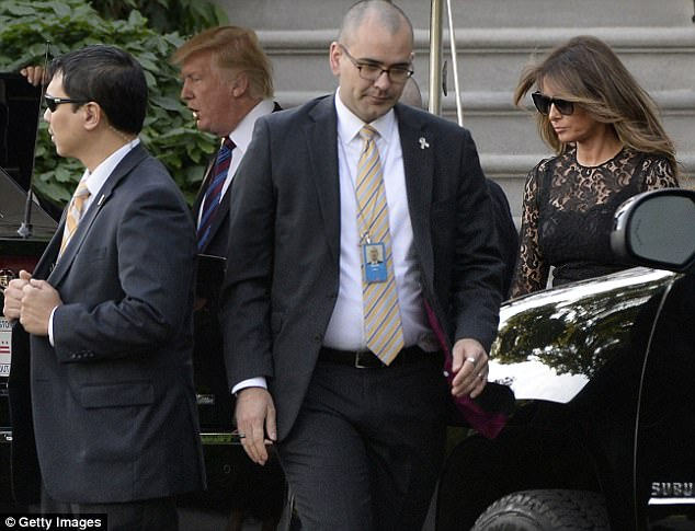 Melania accessorized with a pair of dark sunglasses. She followed her husband in to the waiting motorcade
