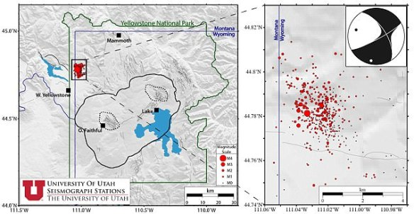 Researchers from the University of Utah's Seismograph Stations (UUSS) have been monitoring the activity since it began last Monday, June 12. Pictured is the he location of the earthquakes that are part of the swarm as  (red symbols)