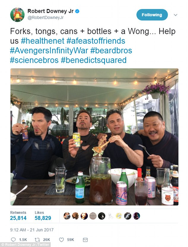 A closer look:Robert Downey Jr. on Wednesday tweeted a shot in which he was having lunch with Avengers: Infinity War co-stars Benedict Cumberbatch, Mark Ruffalo and Benedict Wong