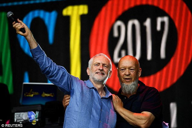 Michael Eavis (pictured with Jeremy Corbyn) said the Labour leader told him be believes he will be prime minister within six months