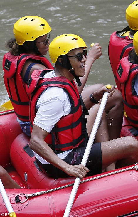 Michele also kept it casual during their rafting expedition