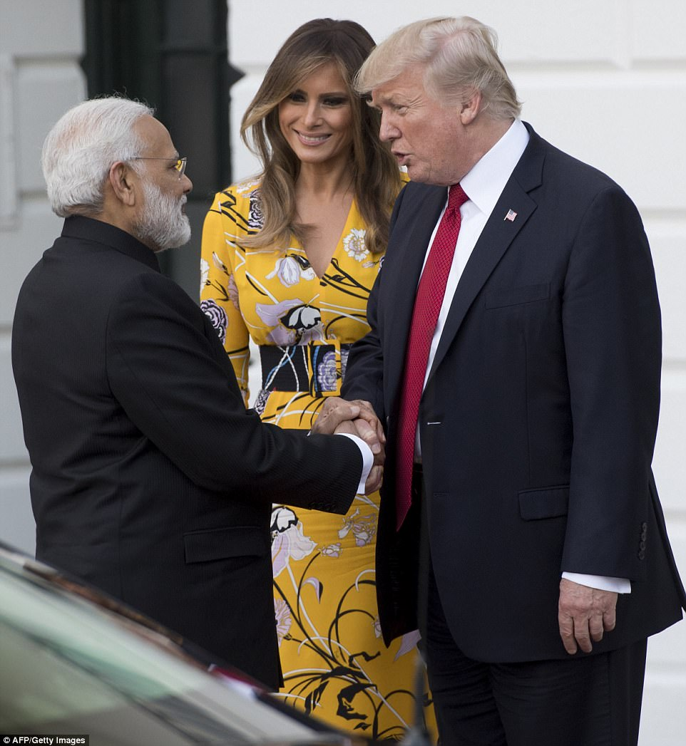 Prime Minister Modi and President Trump shake hands  as they say goodbye on the South Lawn