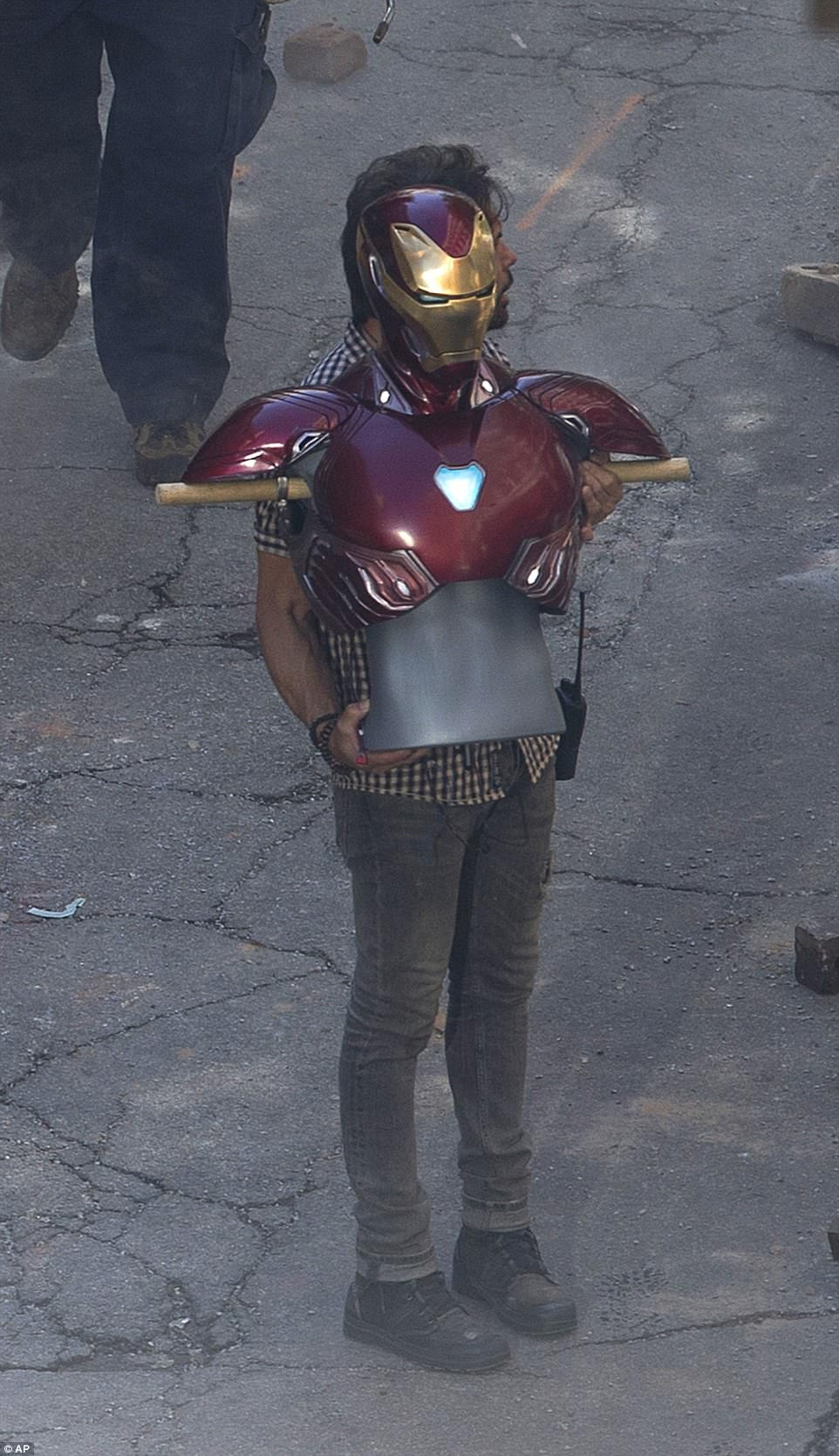 Props:Robert's trademark Iron man suit made an appearance on set to bring the whole thing to life