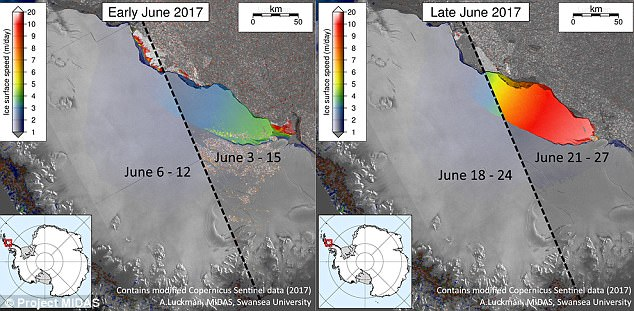 A massive chunk of an Antarctic ice shelf said to be hanging on by a thread has tripled in speed over the last few days – and now, scientists say the detachment of an iceberg the size of Delaware is imminent. The increase in speed can be seen in the image above