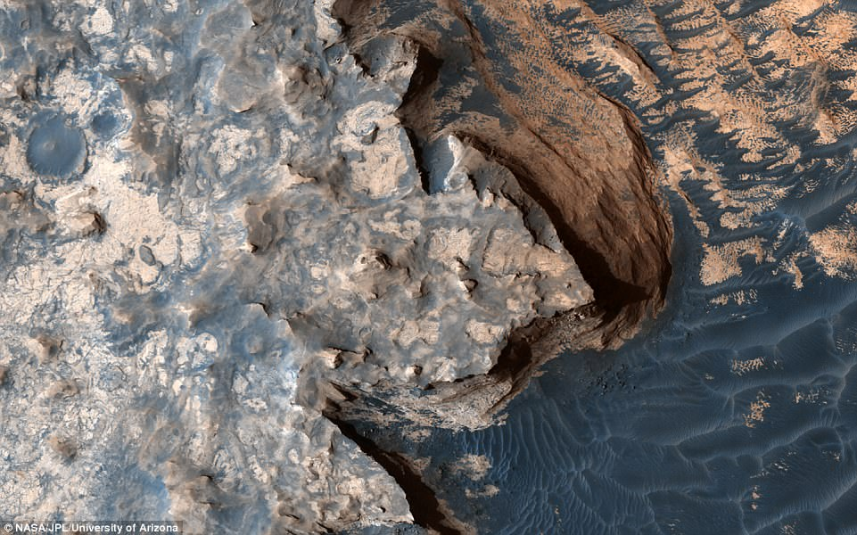 NASA's Mars Reconnaissance Orbiter has revealed a stunning look at the rugged terrain of the red planet, in a scene that could rival Britain's beloved white cliffs. The new view shows Mars' breathtaking 'white cliffs of rover,' at a site known as Meridiani Planum, captured by the High Resolution Imaging Science Experiment (HiRISE) camera