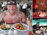 Bodybuilder Leon Roberts was pictured giving a thumbs up as he tucked into his meal while on holiday in Turkey